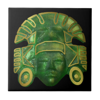 Ancient Aztec Sun Mask Tile