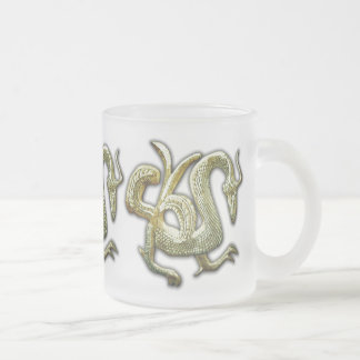 Ancient bronze chinese dragon 10 oz frosted glass coffee mug
