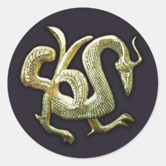 Ancient bronze chinese dragon classic round sticker
