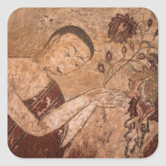 Ancient Buddhist Painting Square Sticker