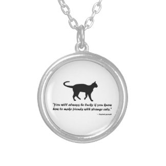 Ancient Cat Proverb Silver Plated Necklace