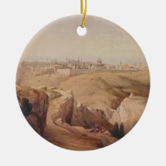 Ancient City of Jerusalem from the Mount of Olives Round Ceramic Ornament