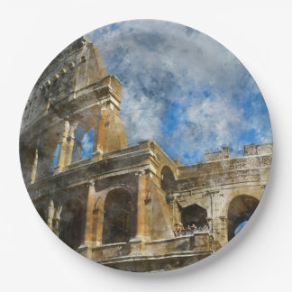 Ancient Colosseum in Rome Italy 9 Inch Paper Plate