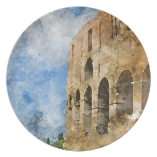 Ancient Colosseum in Rome Italy Dinner Plates