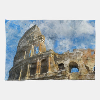 Ancient Colosseum in Rome Italy Kitchen Towel
