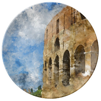 Ancient Colosseum in Rome Italy Porcelain Plates