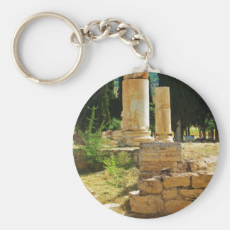 Ancient columns in Pamukkale, Hierapolis, Turkey Basic Round Button Keychain
