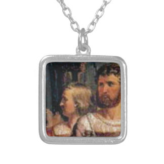 ancient couple silver plated necklace