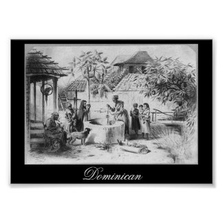 Ancient Dominican Republic Painting circa 1871 Poster