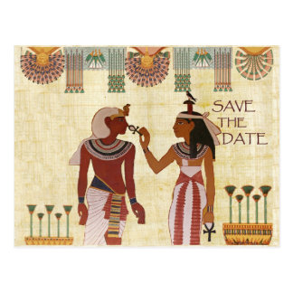 Ancient Egypt save the date postcard African hiero