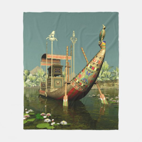 Ancient Egyptian Barge Fleece Blanket