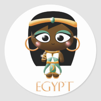 Ancient Egyptian Girl Classic Round Sticker