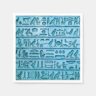 Ancient Egyptian Hieroglyphs Blue Paper Napkins