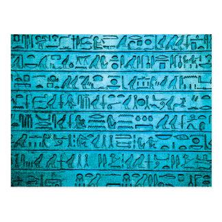 Ancient Egyptian Hieroglyphs Blue Postcard