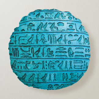 Ancient Egyptian Hieroglyphs Blue Round Pillow