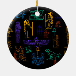 Ancient Egyptian Hieroglyphs & Symbols Ceramic Ornament