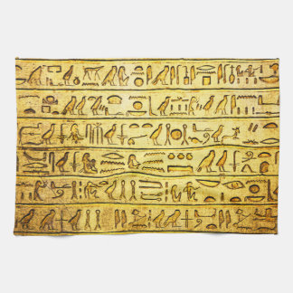 Ancient Egyptian Hieroglyphs Yellow Towels