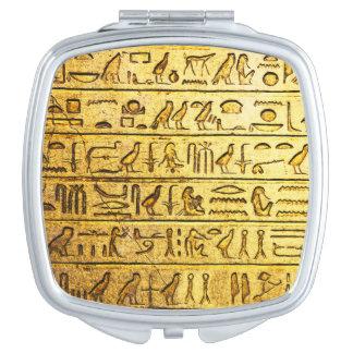 Ancient Egyptian Hieroglyphs Yellow Vanity Mirror