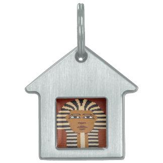 Ancient Egyptian Pharaoh King Tut Brown Crochet Pet Name Tag