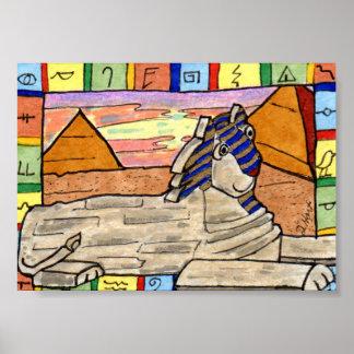 Ancient Egyptian Sphinx Cat Mini Folk Art Poster