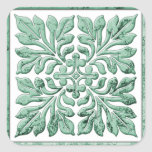 Ancient english tile cool faded green square stickers