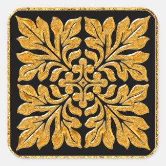 Ancient english tile shiny bright gold square sticker