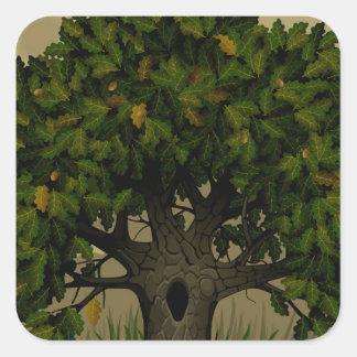 Ancient Fantasy Tree Square Sticker