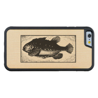 Ancient Fish Art Design Old World Vintage Drawing Carved Maple iPhone 6 Bumper Case