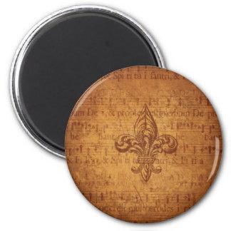 Ancient Fleur De Lis 2 Inch Round Magnet