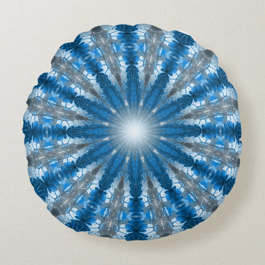 Ancient Forest Mandala (blue) Round Pillow