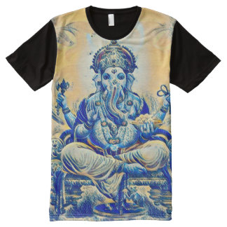 Ancient Ganesha Indie Elephant God Scroll Art All-Over-Print T-Shirt