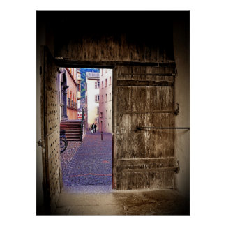 Ancient Gate Opening to Cobblestone Alley Poster