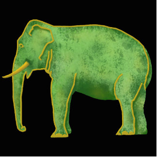 Ancient Gold and Jade Elephant Photo Sculpture Button