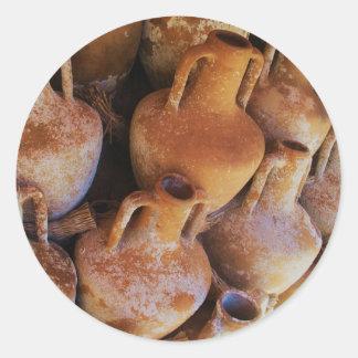 Ancient Greek Amphoras Classic Round Sticker