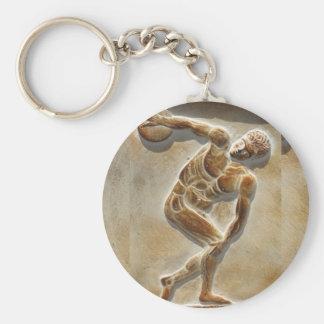 Ancient Greek Discus Thrower -  Discobolus Basic Round Button Keychain