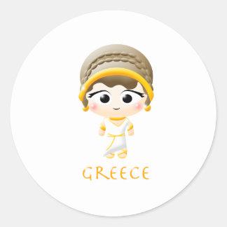 Ancient Greek Girl Round Sticker