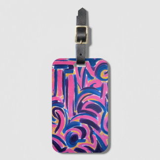 Ancient Greek Graffiti-Abstract Art Hand Painted Luggage Tag