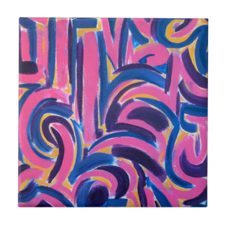 Ancient Greek Graffiti - Abstract Art Hand Painted Tile
