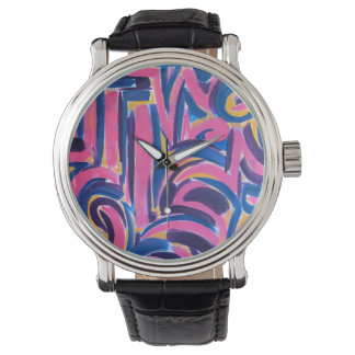 Ancient Greek Graffiti-Abstract Art Hand Painted Watch