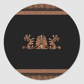 Ancient Greek Style Black and Orange Floral Design Classic Round Sticker