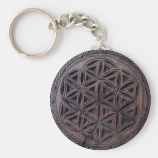 ancient greek symbol wood ethnic flower motif carv basic round button keychain