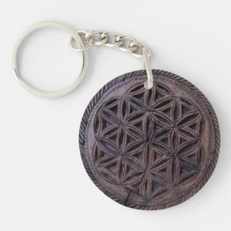 ancient greek symbol wood ethnic flower motif carv Double-Sided round acrylic keychain