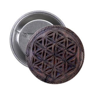 ancient greek symbol wood ethnic motif carved myth 2 inch round button