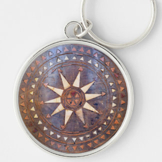 ancient greek symbol wood ethnic sun motif carved keychain