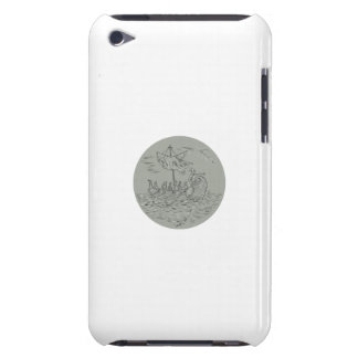 Ancient Greek Trireme Warship Circle Drawing Barely There iPod Cover