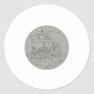Ancient Greek Trireme Warship Circle Drawing Classic Round Sticker