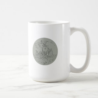 Ancient Greek Trireme Warship Circle Drawing Coffee Mug