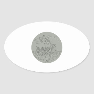 Ancient Greek Trireme Warship Circle Drawing Oval Sticker