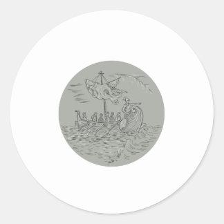 Ancient Greek Trireme Warship Circle Drawing Round Sticker