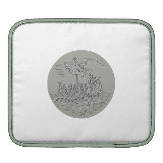 Ancient Greek Trireme Warship Circle Drawing Sleeve For iPads